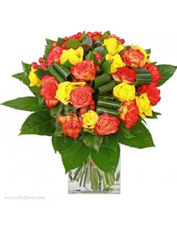Un bouquet aux couleurs chaudes de l'été, qui exprime le bonheur et la joie
