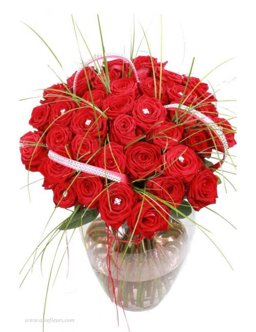 Bouquet Grandes roses & brillants