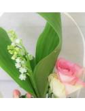 Bouquet de Muguet et fleurs tons roses