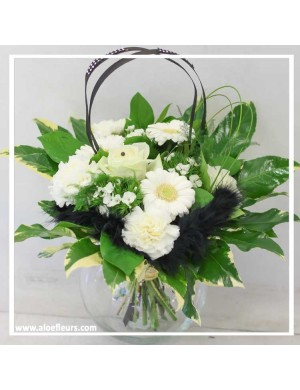 Bouquet rond Black & white