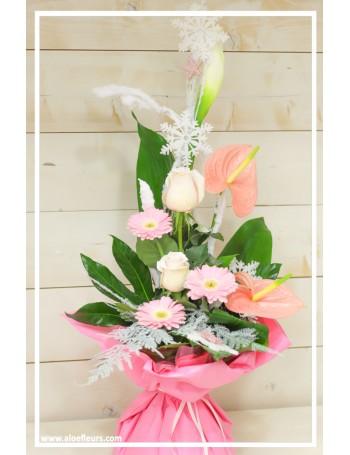 Bouquet bulle d'eau Doux flocons rose