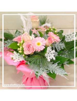 Bouquet rond bulle d'eau Doux flocons rose